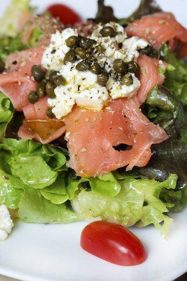 close up macro raw salmon salad