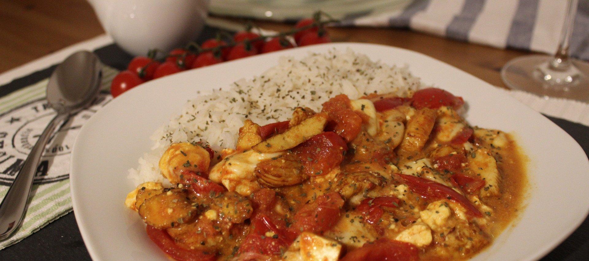 Hähnchenfleisch mit Tomate und Feta