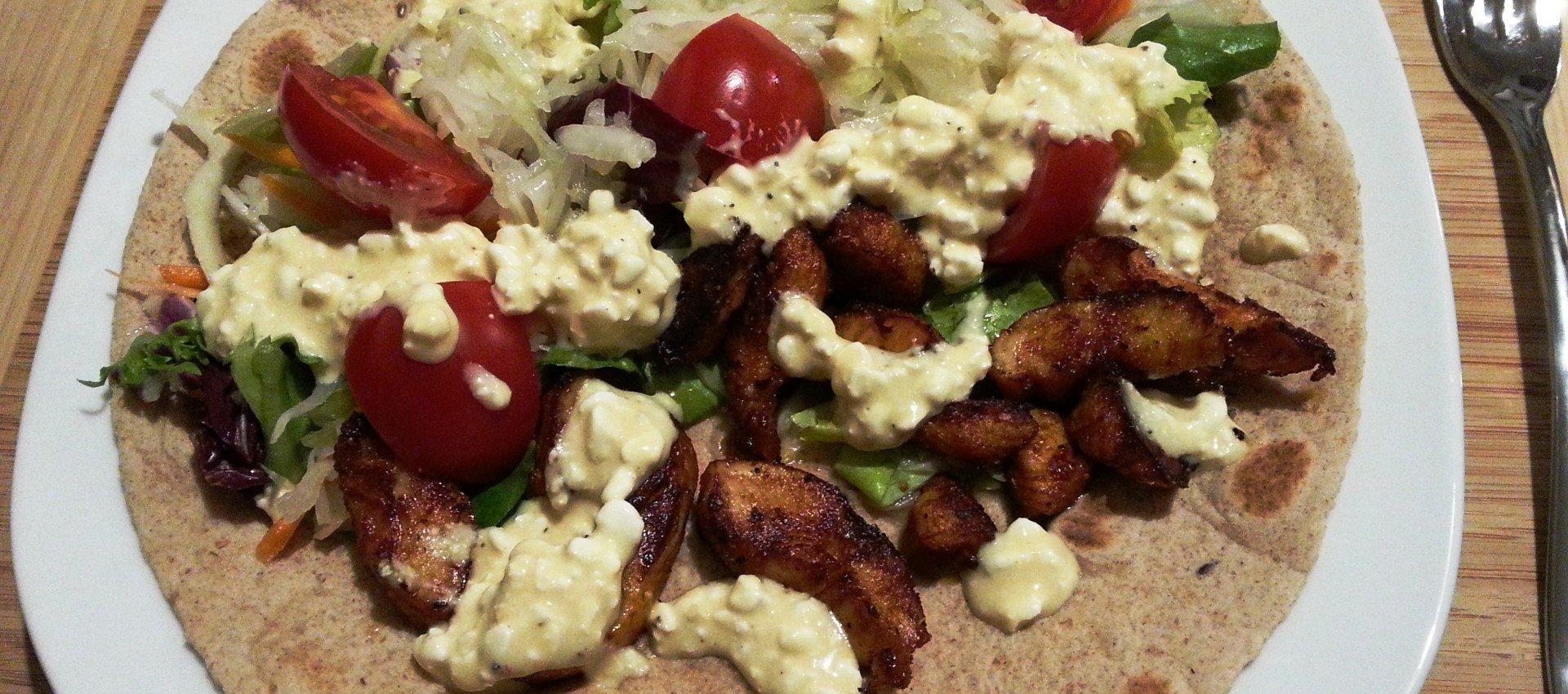 Wrap mit Hähnchenfilet und Honigsenfsauce