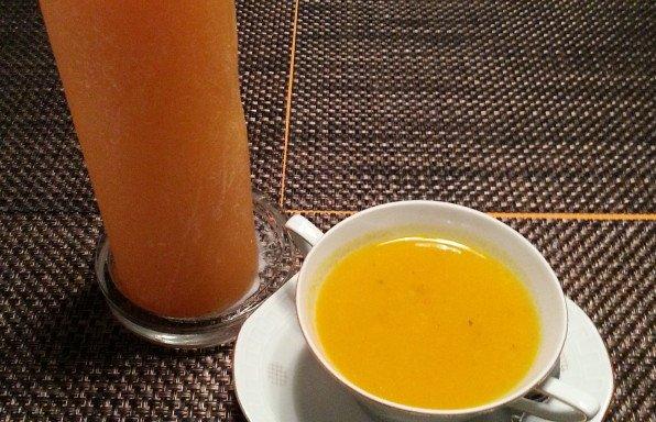 Kürbis - Ingwer Suppe mit Hähnchen