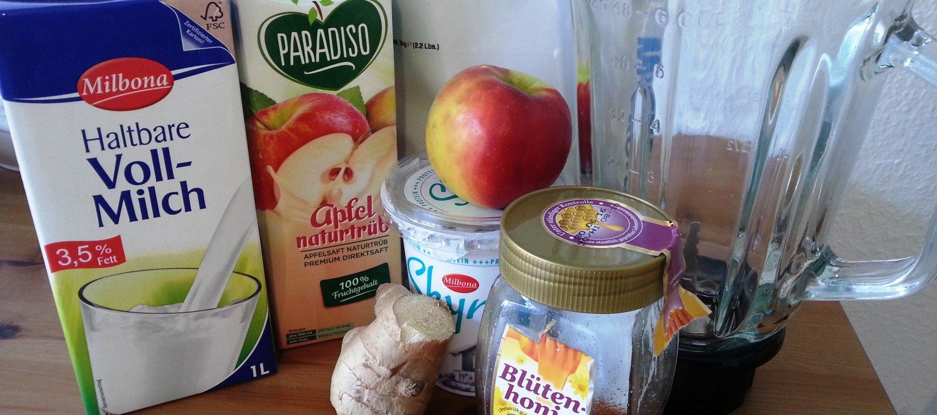 Apfel Ingwer Shake fettarm