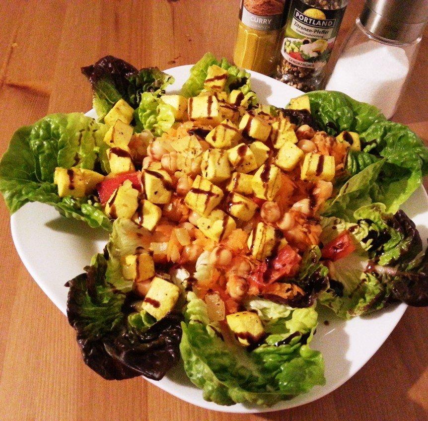 Kichererbsen Salat mit Tofu